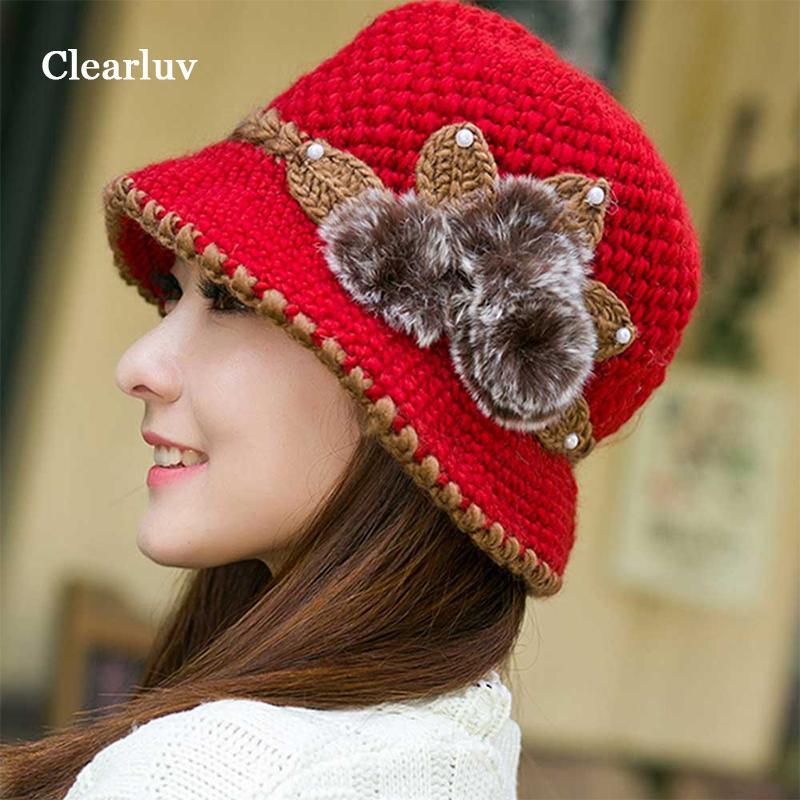 Lady Şapka Kadın Örme Şapka Eşarp Düşürmek Dekore Kulaklar Beanies Cap Kış Sıcak Tığ Şapka Kadın Için