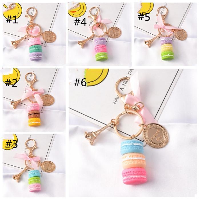 Macaron Cake Key Chain Fashion Cute Keychain Bag Charm Car Key Ring Wedding Party gift Jewelry For Women Men HHA3259
