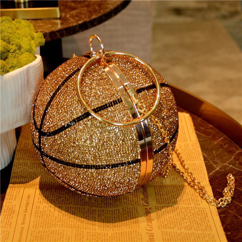 Dgrain funken runde Kugel-Gold-Clutch Handtaschen für Frauen Basketball Abendtaschen Strass Handtaschen-Dame-Partei Abendessen-Beutel