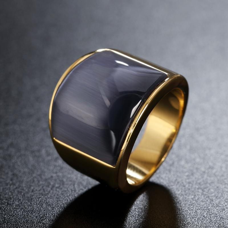 High-quality Multicolor Large Stone Rings For men Women Gold color 316L Stainless Steel Jewelry Wedding Party Gift