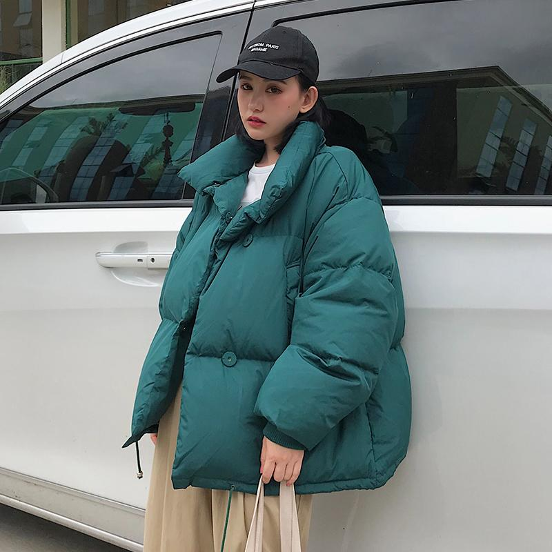 Loose Women's Jackets For Winter Korean Style Solid Woman Parkas Bread Jacket Stand Collar Thick Cotton Female Cold Coat Outwear 210203