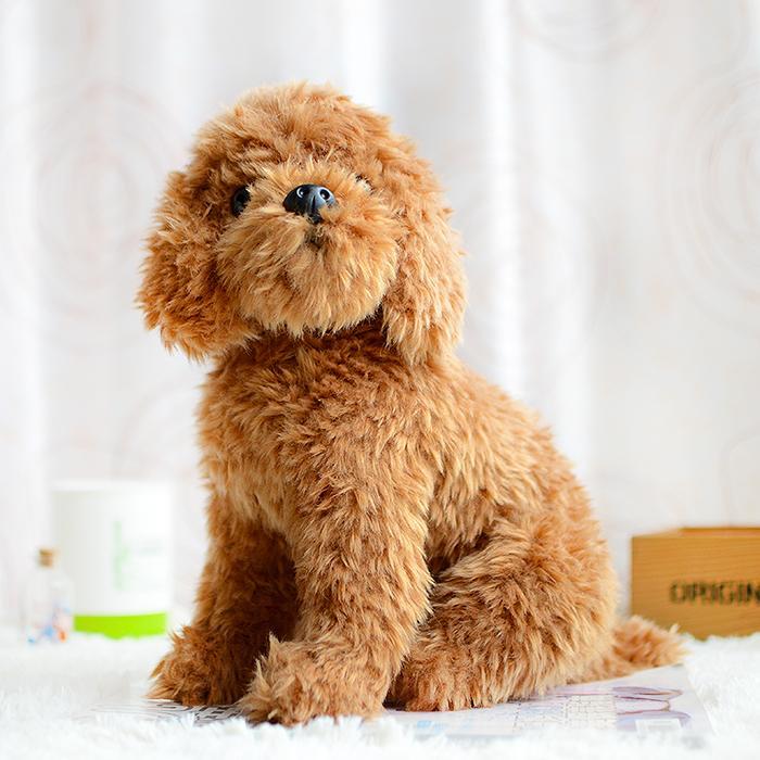 Teddy Dog Kids Plush Toys Brown Simulation Lovely Children Gifts Kawaii Lifelike Stuffed Animals Dolls Cute Forfar Present 201027