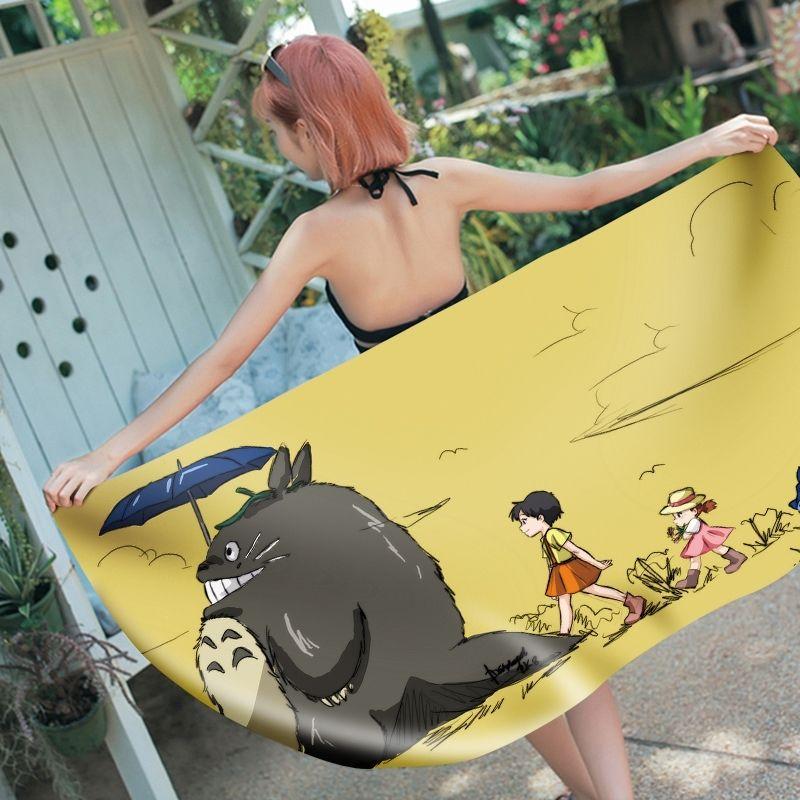 Totoro de bande dessinée 3D imprimée Totoro Microfibre rectangle Serviette de plage pour adultes Enfant Summer Toalla Yoga Mat T462 Y200429