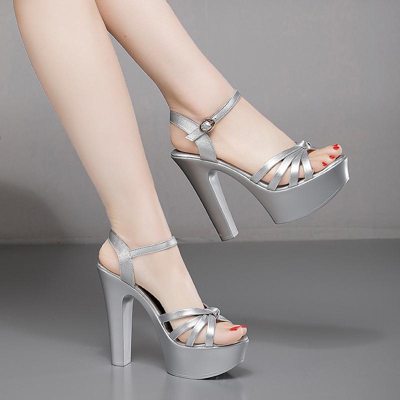 Voesnees 2020 лето сандалии женщин обувь Высокие каблуки Sexy толстый каблук водонепроницаемый платформы слово сандалии дамы модель подиума обувь