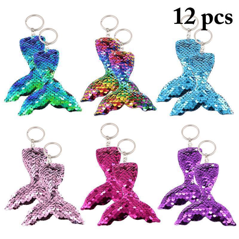 Portachiavi 12pcs colorati paillettes sirena tail tail portachiavi charms ciondoli paillette pendenti pesci portachiavi di gioielli fai da te accessori di gioielli1