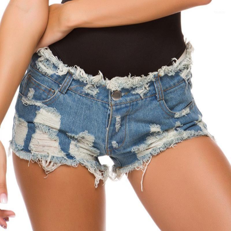 Nuevas mujeres sexy jeans cintura alta pantalones caliente Hole Denim Shorts Sexy Nightclub Ultra Short Jeans Ladies Playa Pantalones cortos más Tamaño 1