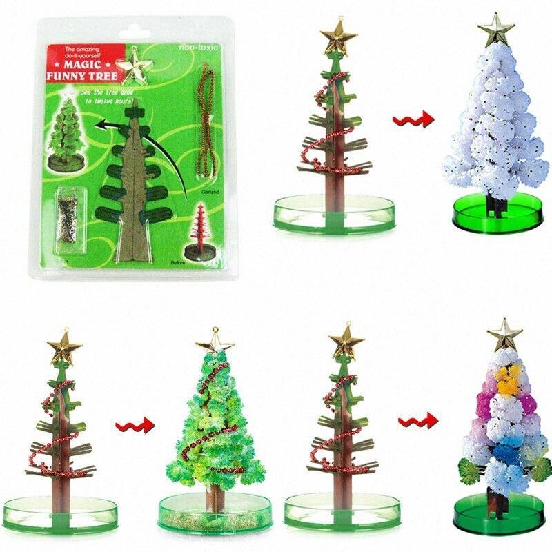 Magische wachsende Weihnachtsbaum Kristallpapierbaum Weihnachtsdekoration Spielzeug Modish jteu #