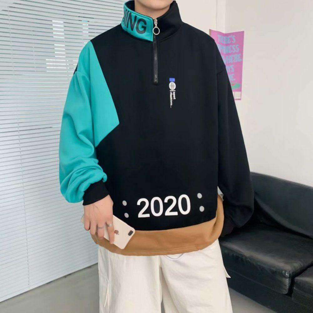 Suéter a juego de invierno con peluche engrosado de moda coreano versátil de color suelto collar de contrastar pareja abrigo ropa de hombre