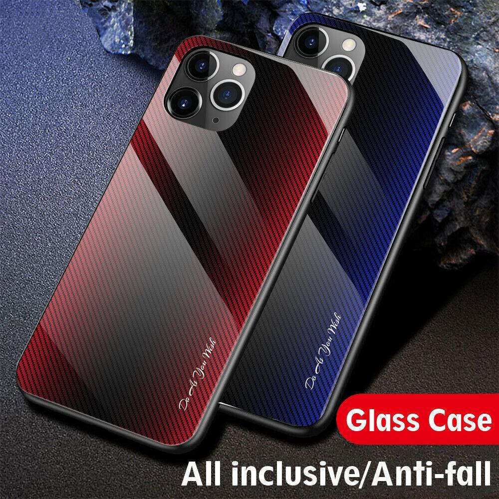 2020 الجديدة غطاء الهاتف القضية للحصول على 12/11 برو ماكس XS / XR / 7 8 فاخرة خفف من الزجاج الصلب غطاء الهاتف زجاج شل المضادة للسقوط الغطاء / واقية