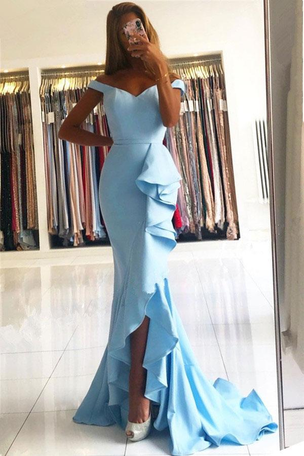 Hot Sale Mermaid Bridesmaid Dresses Off Shoulder Side Split Sweep Train Ruffles Garden Country Wedding Guest Party Gowns Maid of Honor Dress