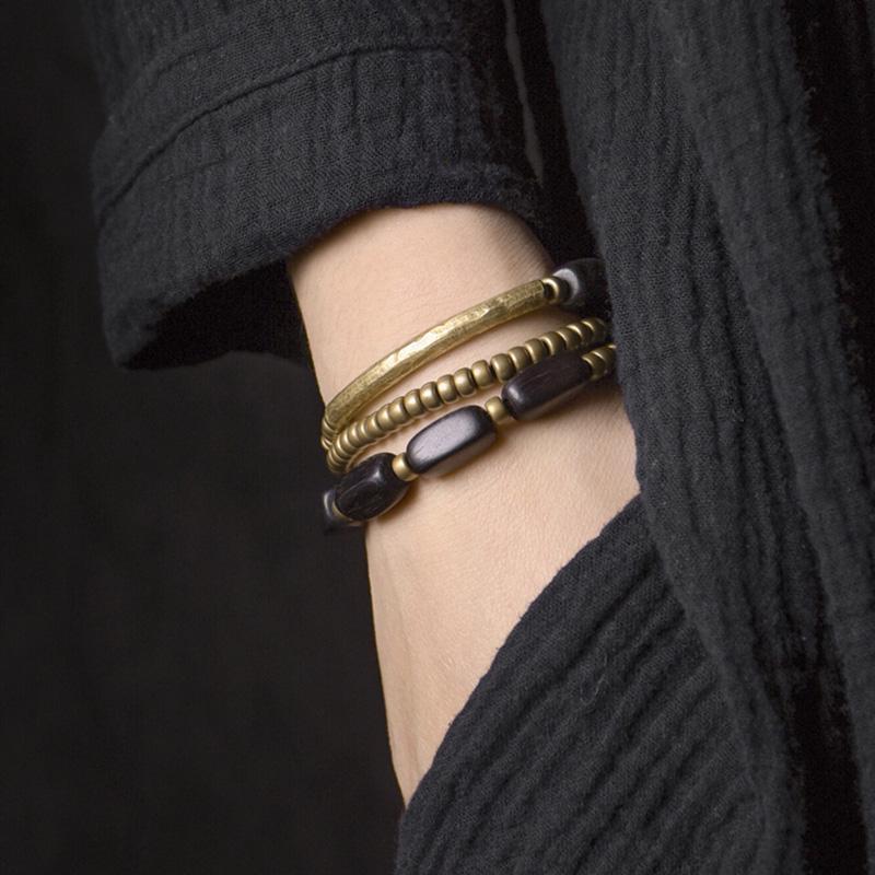 Streifenschicht Ebenholz handgefertigte rohr multi perlen messing armband schwarz holz armbänder für männer frauen metall halskette handgelenk o
