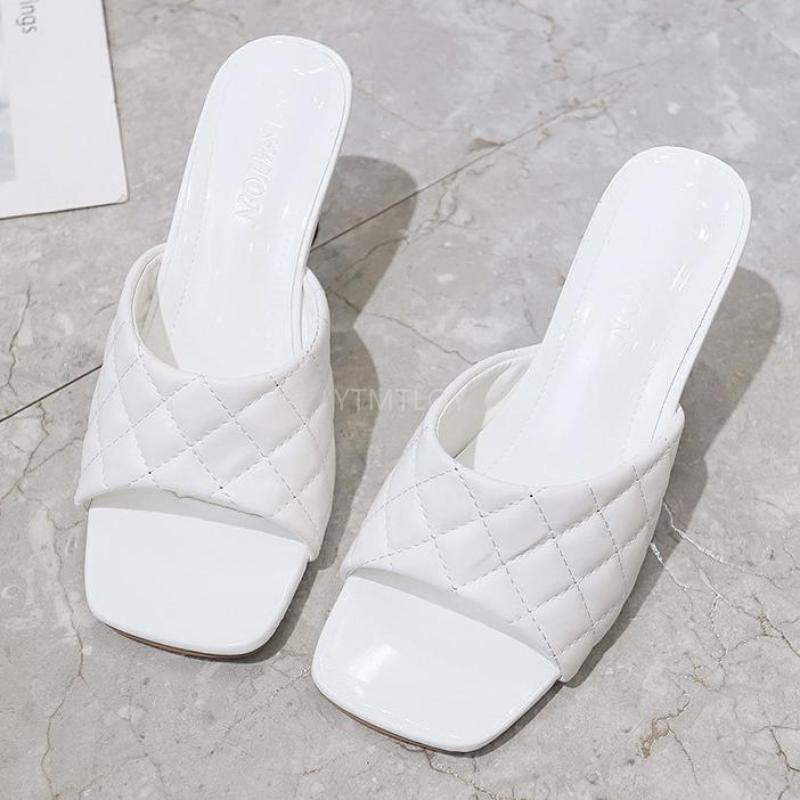 Lüks Slaytlar Artı Boyutu 35-41 Kadınlar Yüksek Topuklu Katır Yaz Sandalet Terlik Platformu Zapatillas Mujer Casa Beach Terlik