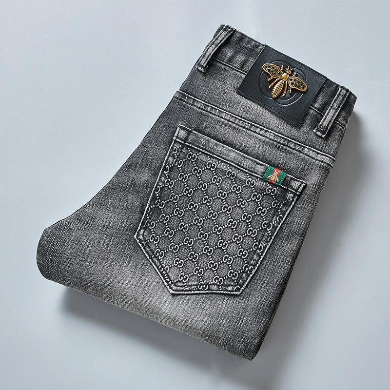 2021 가을 남자 청바지 코튼 슬림 탄성 패션 비즈니스 바지 클래식 스타일 청바지 데님 바지 남성 바지 회색 색상