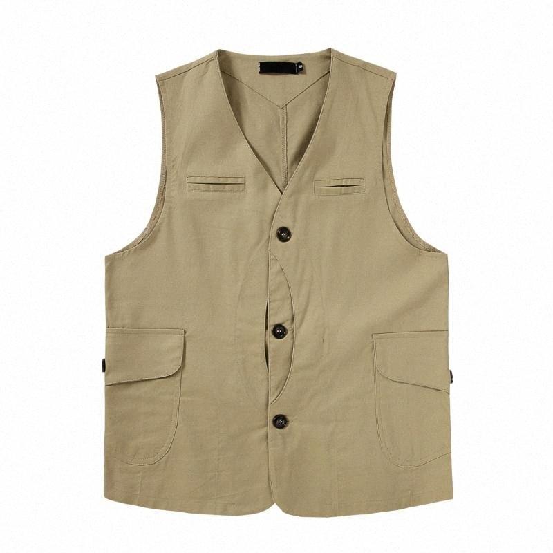 2020 2020 Brand Men Casual Сыпучего Vintage жилет Япония Amekaji Мода карманных рукава Карго куртка Топы Жилет S XXL С, $ 21,58 23dZ #