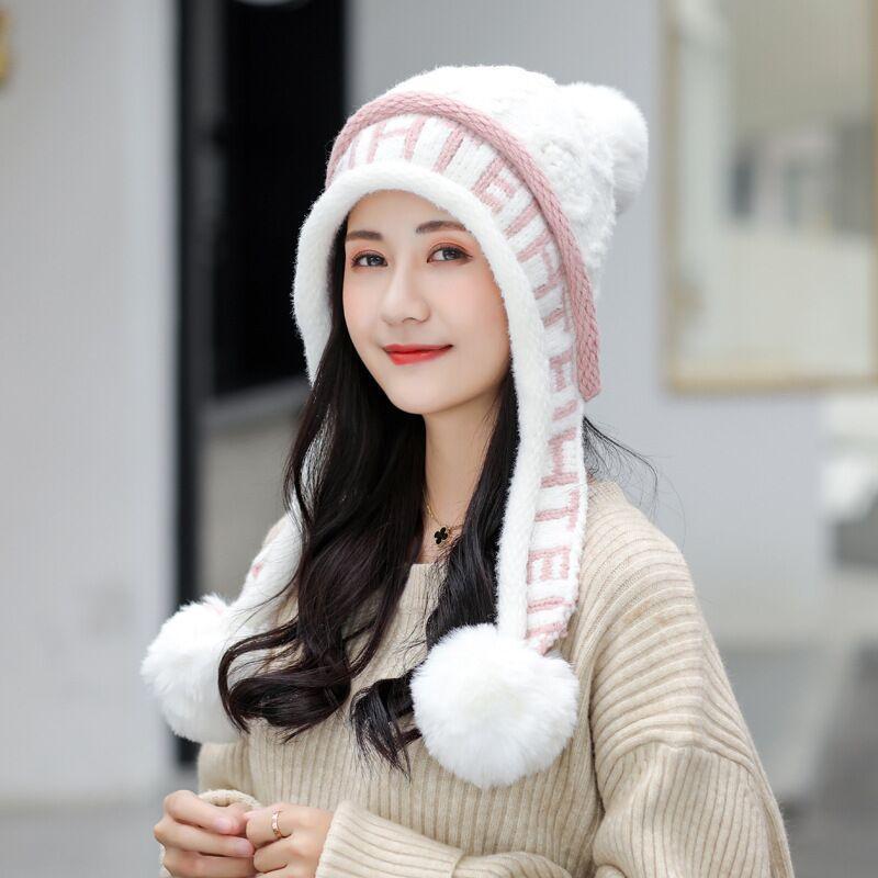 2020 Femmes Mode hiver Pompon Bonnet Beanies skullies Sweet Girls Réchauffez velours épais extérieure Protection auditive Ski Cap