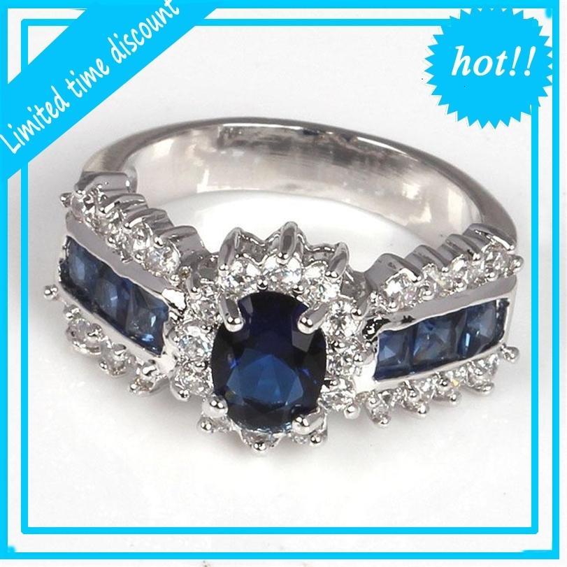Gemstone Tamanho 6,7,8,9,10,11,12 CZ 18K Ouro enchido casamento lindamente anéis