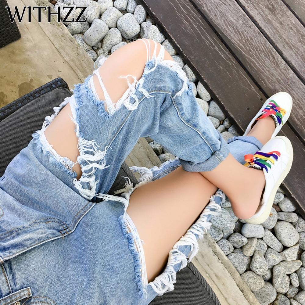 Withzz Nuovo arrivo 5XL strappato i pantaloni delle donne allentate sottili Jeans Donna Pantaloni Pantaloni Tuta Vintage femminile Torn