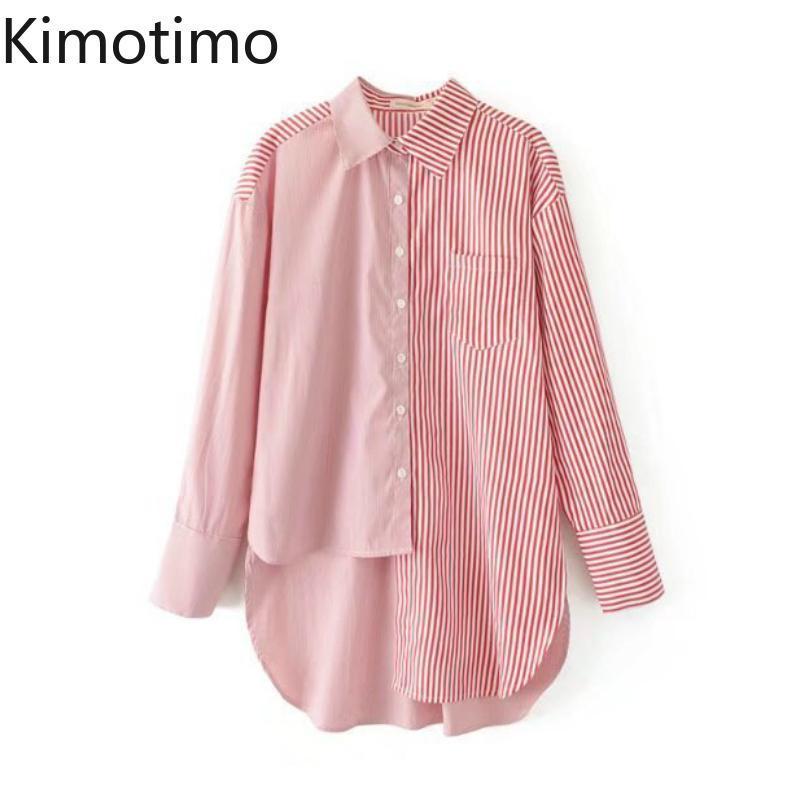 Lady ufficio Kimotimo Camicia asimmetrica a righe manica lunga casuale allentata High Street Fashion Elegante Top Female Camicetta