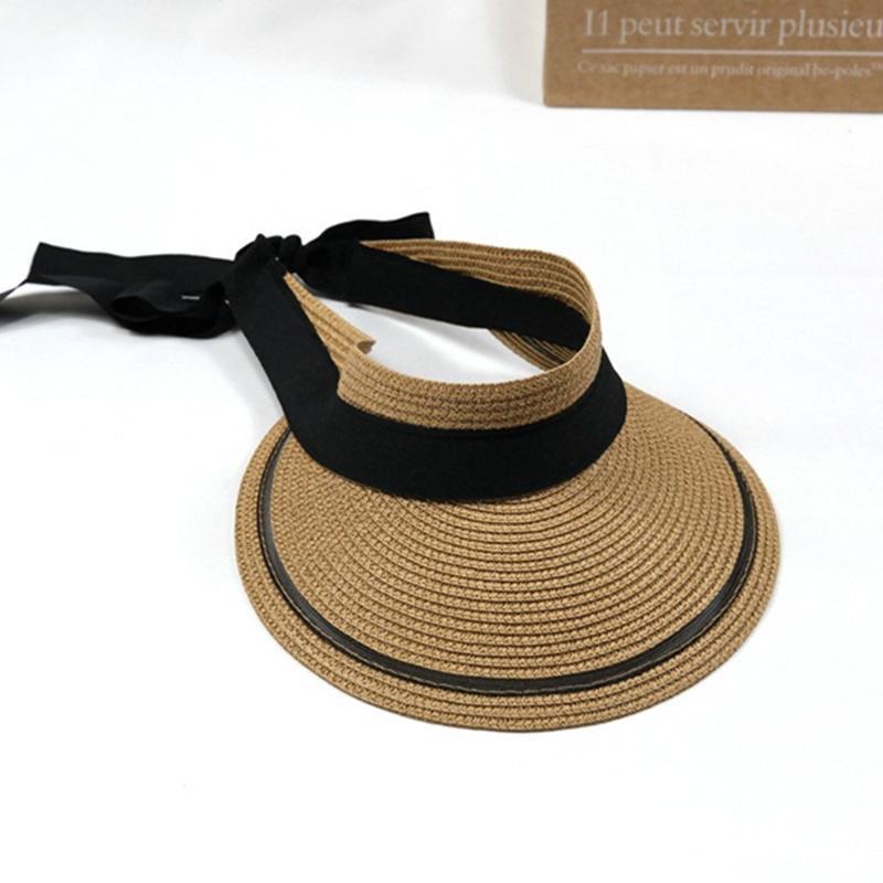 Stingy Rand Hüte Sommer Frauen Ribbon Bow Strohvisier Sonnenhut Dame Leerer Top Breites Strand UV Schutzkappe