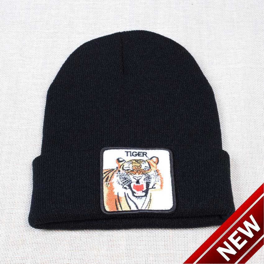 Nuevo bordado de dibujos animados de otoño Tiger de punto invierno cálido hombres y hombres de lana de mujer 9jrx