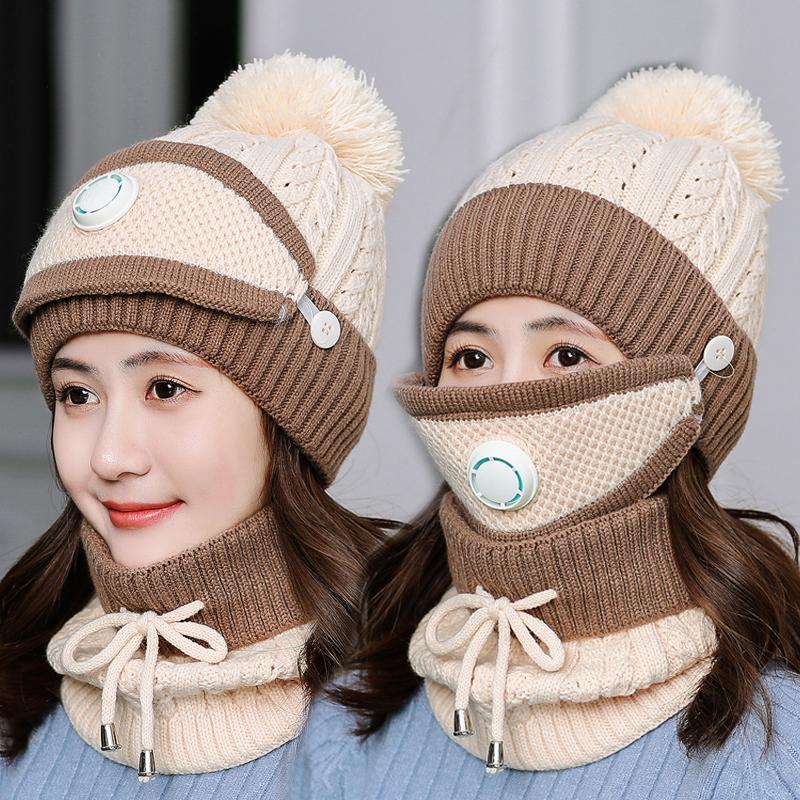 3 pièces / set chapeaux d'hiver pour les femmes avec masque respiratoire 2in1 Bonnet en maille Fille Pompons chapeau chaud Ajouter fourrure doublée de protection d'hiver