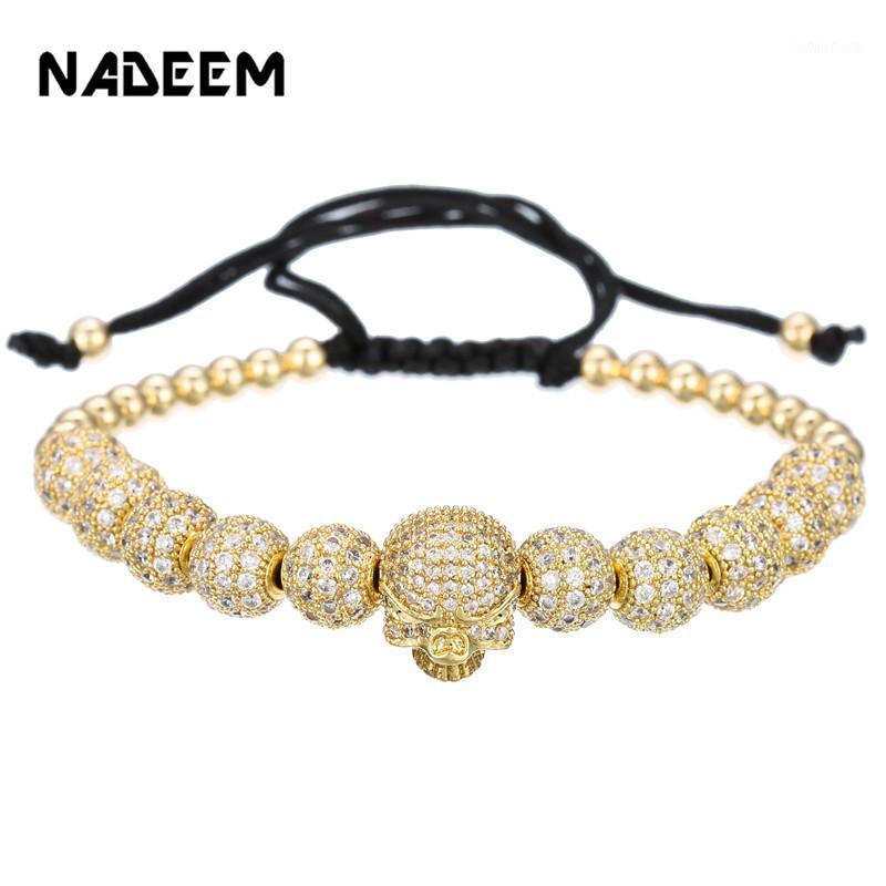 Bracciale per hip hop Uomo / cz cranio / perline di rame / lusso / intrecciatura / braccialetti per uomini da donna Bracciale zircone cubico Homme Jewelry1
