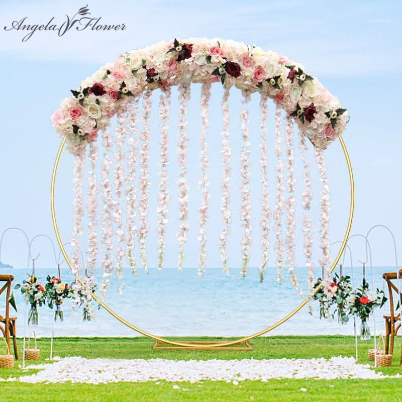 Luxury 1m/2m DIY wisrteria flower row decor for party window shop wedding arch backdrop artificial flower arrangement vine rose1