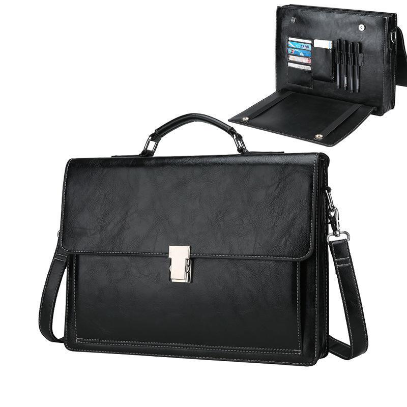 Borsa per computer per computer portatile uomo caldo uomo business documento business mano blocco a mano multi-funzionale a spalla a tracolla bighecca