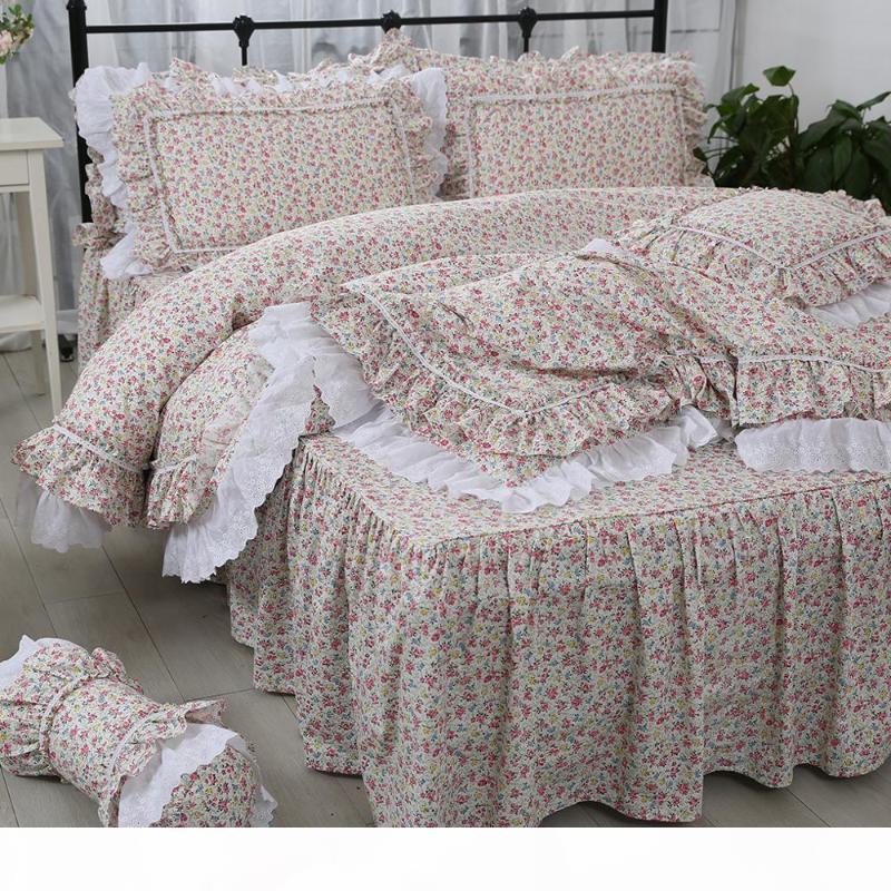 Бесплатная доставка Корейский роскошный постельное белье набор пастырских вышитых кружева принцесса ruffles цветок чистый хлопок ROPA de Cama кровать юбка кровати YYX