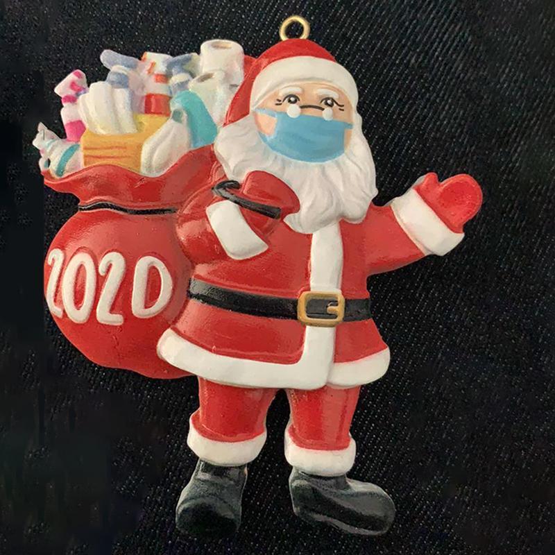 2020 Weihnachten hängen Dekorationen Weihnachtsschmuck Personalisierte Santa Claus Tragen Maske Harz Harz Quarantäne Überlebende Anhänger Wohnkultur Geschenk