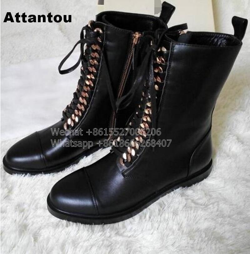 Новая мода Black PU кожи на шнуровке ботинок женщина круглые носки верховые ботинки дизайнерская цепь мотоцикл короткий booty1