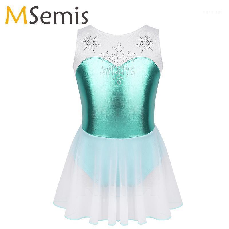 Girls ballet Dance wear Costume Sleeveless Shiny Rhinestone Snowflake Metallic Bodice Gymnastics Leotard ballerina Dress Kids1