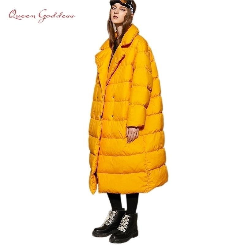 Nuovo elenco Winter Women 90 White Duck Down Jacket Simplethicken Parka calda con cappuccio sciolto Plus Size 7XL Outwear 201127