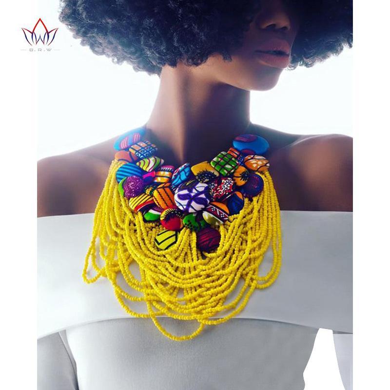 2020 Hot Sale Handmade Ankara Button Bib Necklace Hot Sale Cotton Necklace Shourouk Statement Necklace Choker Necklaces WYB06 0927