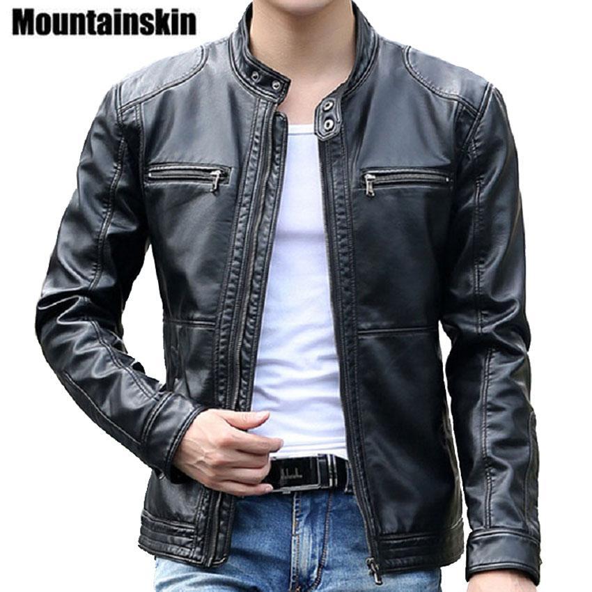 Оптово Mountainskin 5xl Мужские кожаные куртки Мужские пальто Стенд Воротник Мужчины мотоцикла кожаная куртка вскользь тонкая марка одежды fz02