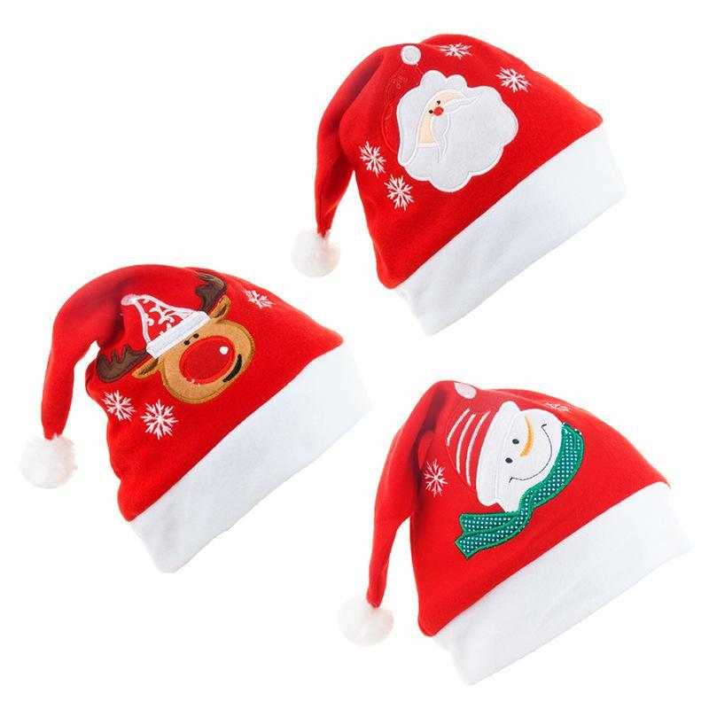 Chapeau de Père Noël d'hiver chaud de Noël à haute teneur en peluche adulte Chapeau en peluche de Noël Épaississement doux Chapeau de Noël Ornement Décoration de T1I2658