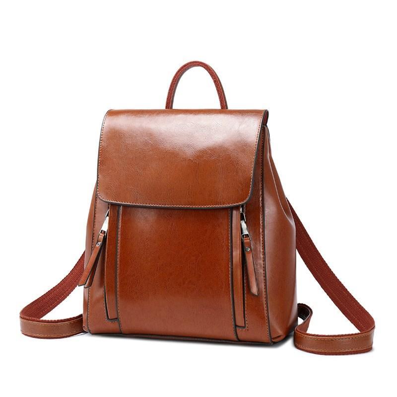 2021 Yüksek kaliteli deri kadın çanta moda pürüzsüz yağ balmumu inek deri omuz çantası kızın okul torbası düz renk omuz çantası