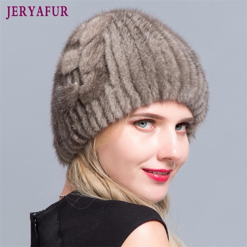 Jeryafur Winter Mink Меховая шапка вязаный лайнер горный хрусталь украшения женской меха шерсти Pullover 201221