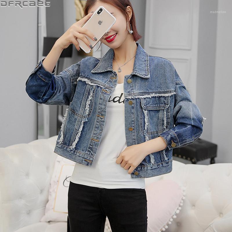 Новый 2020 Осенняя старинная джинсовая куртка для женщин-стритюна Slim Chic Rooked куртка кисточка Burrs Jaquea Jeans Contrast Color Coats1