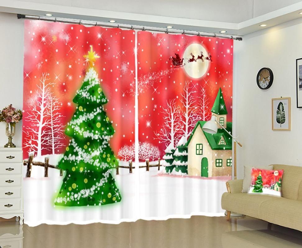 O interesse de babson Crianças da árvore de Natal DIY Foto Natal cortina de sombreamento de impressão cortina personalizado digital 3D