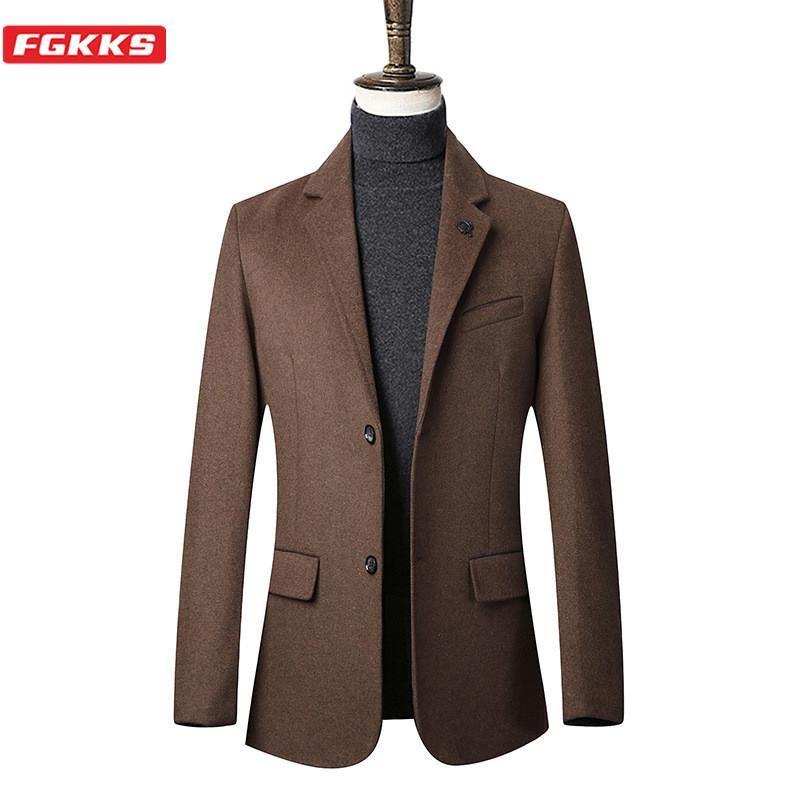 Tinta unita Casual lana FGKKS degli uomini di marca misto lana cappotto maschile cappotto invernale New Business Trendy selvaggio cappotto maschile