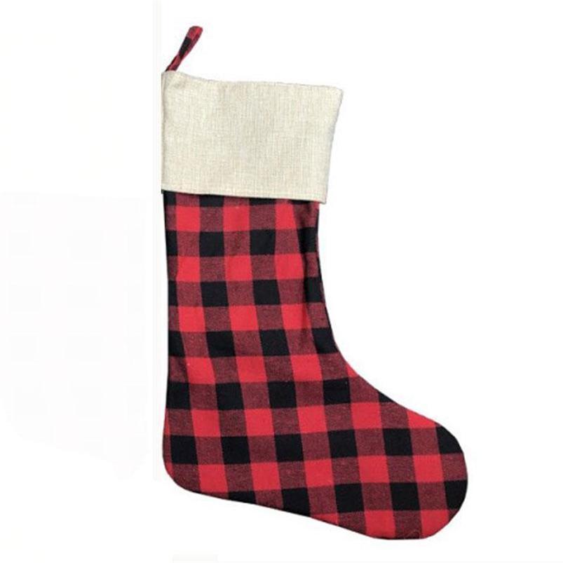 2021 Weihnachtsstrumpf Grid Plaid Weihnachtsstrumpf-Pendent Süßigkeit-Geschenk-Beutel-Geldbeutel Patchwork Lange Socken Ornament Geschenke