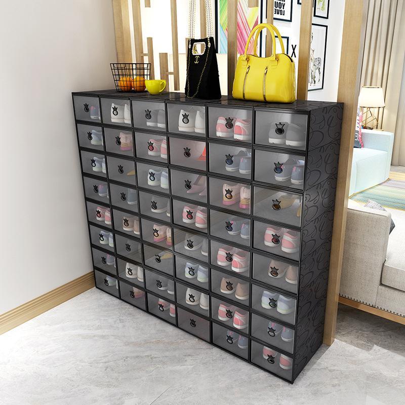 Утолщенная прозрачная коробка для обуви цвет штабелируемый ящик для хранения пластиковых кабинетов для обуви мужчины и женские и женщин для хранения обуви бытовой отделочный ящик