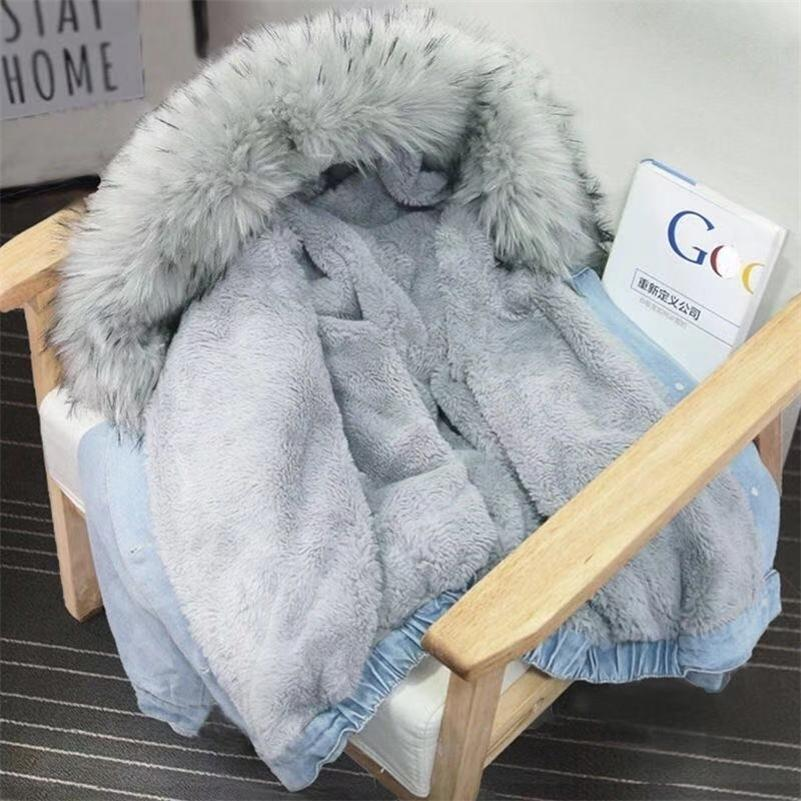 Bella Philosophie Winter Frauen Denim Pelz mit Kapuze Mantel Streetwear Lady Casual Jackets Parka Weibliche Einreiher Outwear Y201001
