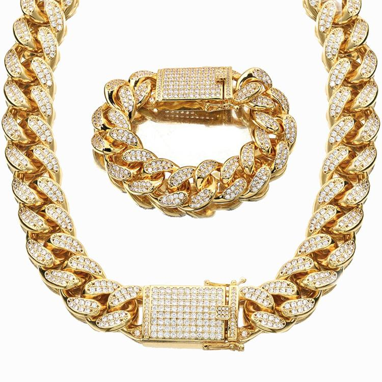 18 мм Miami Cuban Link цепочка ожерелье браслеты набор для мужчин Bling Hip Hopced out out out out diamond золото серебро рэпер цепи женщины роскошные украшения