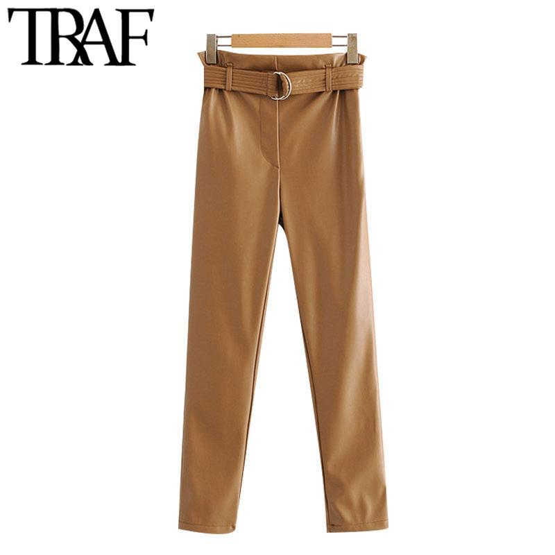 Pantalones para mujer Capris Traf Mujeres Moda con Belt Faux Papelbag Vintage High Elastic Cintura Lado Bolsillo Femenino Tobillo Pantalones Mujer