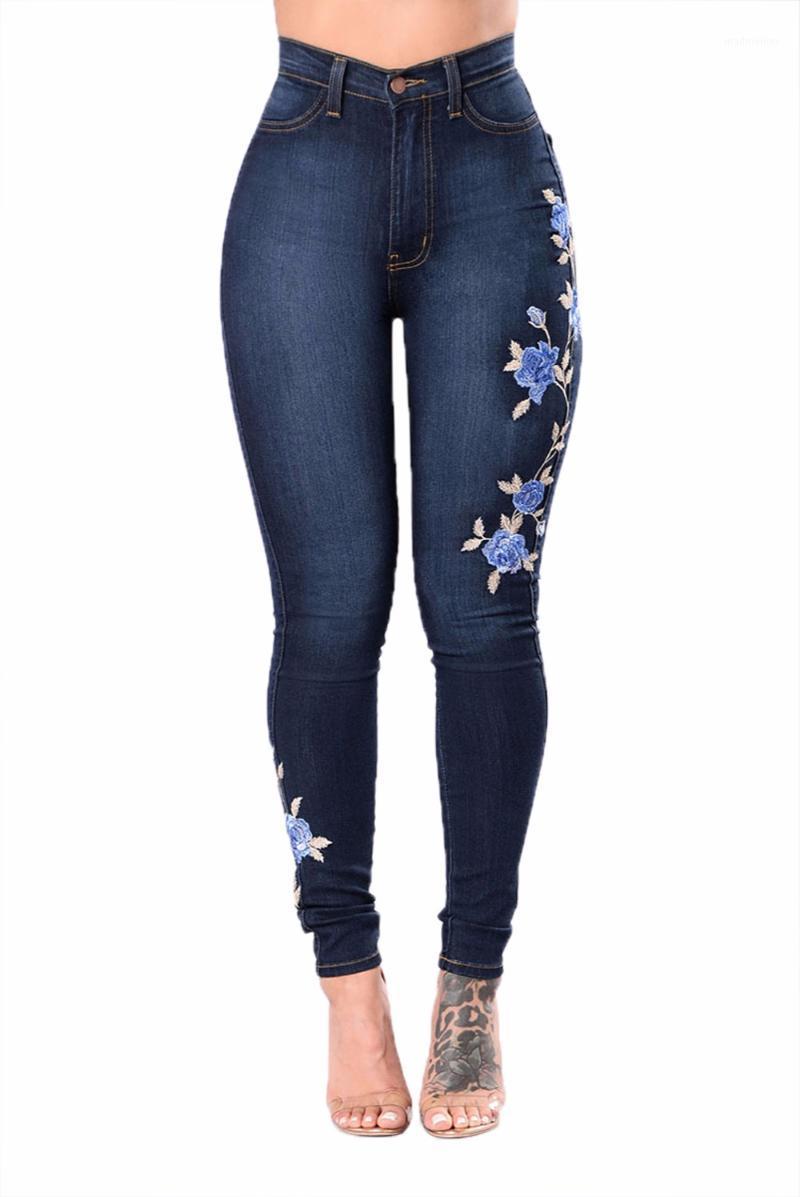 S-3XL mujeres sexy floral alta cintura lápiz pantalones pantalones sin nombre denim jeans1