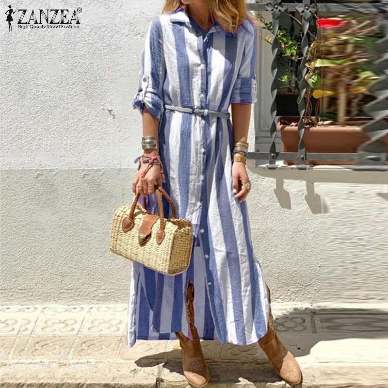 Bohmeian Strayed Maxi Robe Zanzea Femme Summer Summer Shirt Chemise à manches longues Vestidos Plus Taille Tunique Robe Femme 5XL Y200103