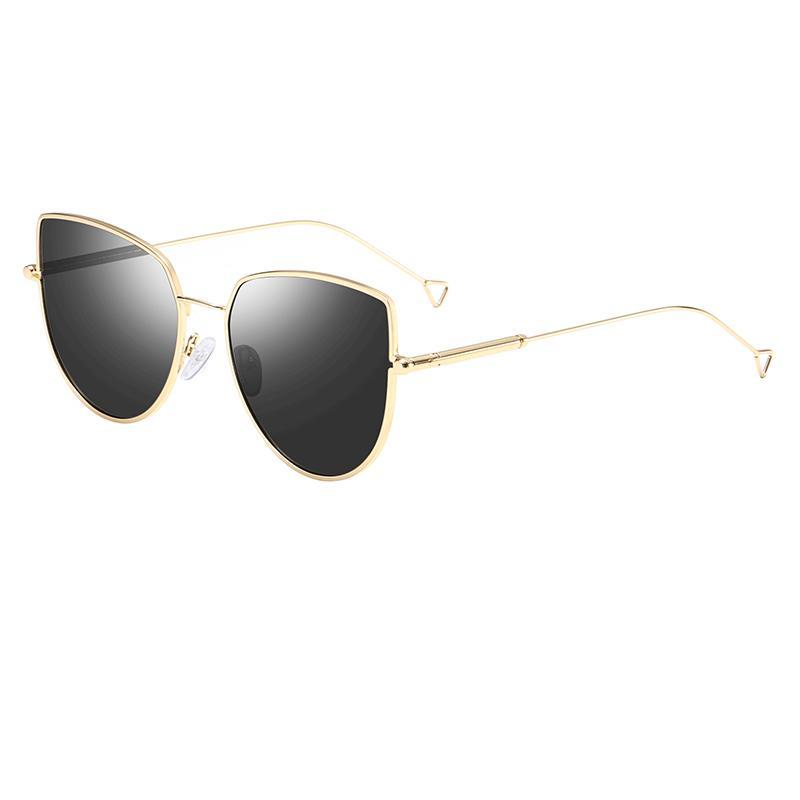 1 hochwertige mode frauen designer marke katze auge sonnenbrille gold metall schwarz blau pink uv400 linsen senden kasten