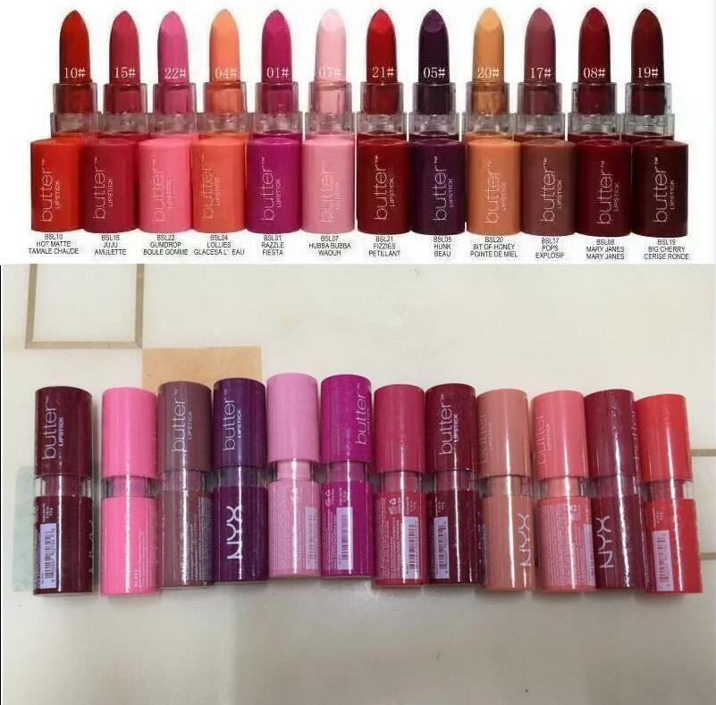 NYX Butter Lippenstift 12 Farben Batom Mate Wasserdichte langlebige Lippenstift NY Tint Lip Gloss Stick Marke Makeup Maquillage 12 stücke